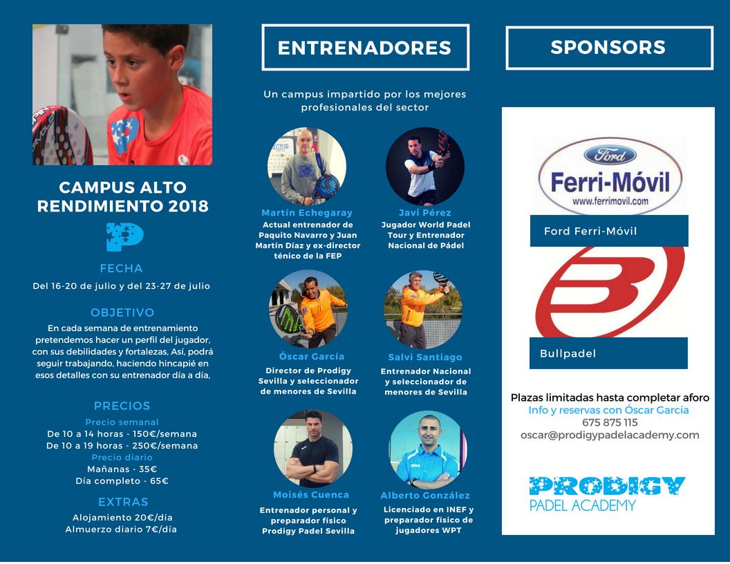 Campus Alto Rendimiento 2018 Prodigy Padel Academy